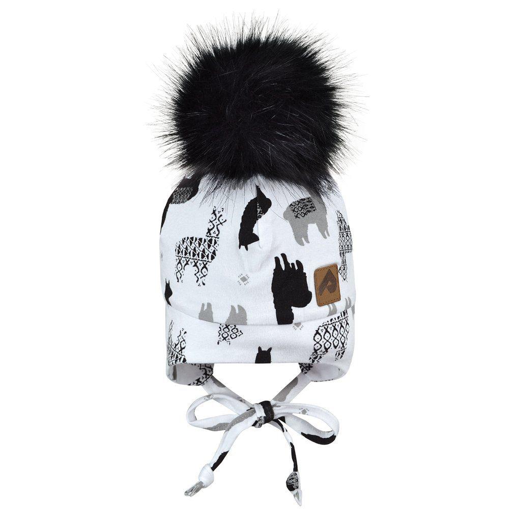 Tuque perlimpinpin noir&blanc-lamas