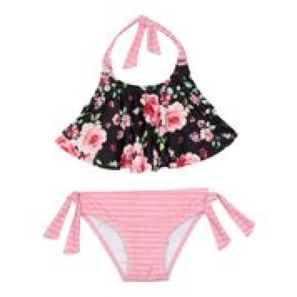 Maillot 2 piece flower and stripe